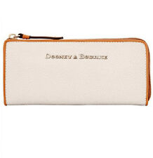 DOONEY & BOURKE Claremont LARGE Zip Clutch Wallet BONE TEXTURED LEATHER NEW $158