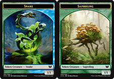 Snake GREEN - BLUE // Saproling TOKEN Card x4 NM Commander 2015 MTG TOKEN CARD