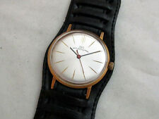 LUCH VINTAGE 1980's USSR RUSSIAN AMAZING GOLD PLATED Men's ULTRA SLIM WATCH
