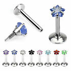 INTERNALLY THREADED STAR GEM LABRET SCREW IN LIP BAR TRAGUS MONROE 316L STEEL