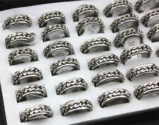 Wholesale Lots 15pcs Silver Tone Chain Stainless Steel Men Jewelry Ring FREE