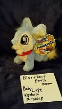 2004  Neopets 5inch Baby Lupe Blue+tan with 1/2 brown ears  with keychain