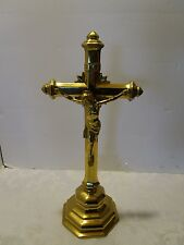 "BRASS ART DECO PRIESTS ALTAR TABLE CHURCH CRUCIFIX 16.5"" H Antique gold Plated"