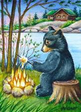 ACEO Limited Edition Print Black Bear Cub Campfire Marshmallow Lake by J. Weiner