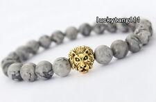 Men's Gray Picasso Jasper Beads Gold Lion Head Beaded Tibet Charm Bracelet