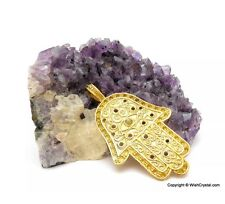 HAMSA,KHAMSA, BUDDHA PALM PENDANT EMBEDDED WITH CROWN CHAKRA STONES UK