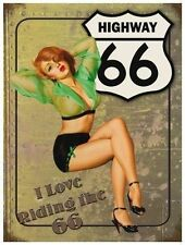 Highway Route 66, America Road USA Car 50s Pin-up Girl Small Metal/Tin Sign
