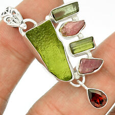 Moldavite & Green Tourmaline 925 Sterling Silver Pendant Jewelry SP214699