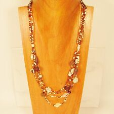 "28"" Classic Vintage Multi Strand Gold and Cream Handmade Seed Bead Necklace"