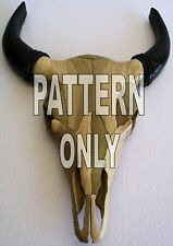 Buffalo Skull, Intarsia wood Pattern