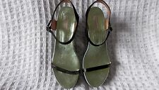 Women's Dries Van Noten Black Leather Barely Time Wedge Sandals UK 6.5