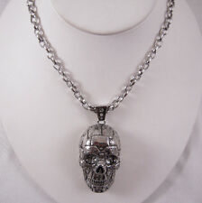 Han Cholo Silver Stainless Steel Rivet Skull Pendant  Necklace 28""