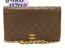z4926 Auth CHANEL Brown Lamb Skin Push Lock Full Flap Chain Shoulder Bag GHW