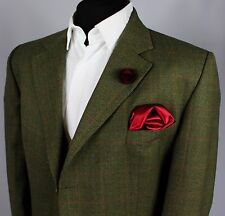 Blazer Jacket DAKS Signature Green Country Windowpane 46L EXCEPTIONAL ITEM 434