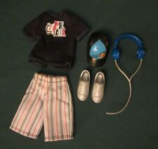 BARBIE LOVES PAUL FRANK KEN DOLL OUTFIT W/SHOES, HAT, AND HEADPHONES