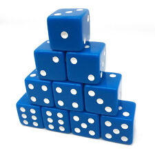 Set of 10,Blue Dice,D6,six-side 16 mm blue with white pips dice,1.6CM,plastic