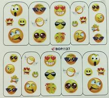 Nail Art Water Decals Cute Funny Silly Smiley Face Love Goofy Happy BOP137