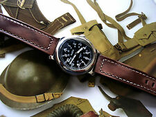 NATO ® WWII Military Watch Leather Edition Army 21J Miyota Sapphire IW SUISSE US