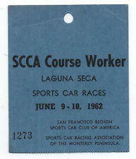 1962 Laguna Seca Raceway S.C.C.A. Course Pass Tag for Worker