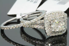 10K WHITE GOLD 1.44 CARAT WOMENS REAL DIAMOND ENGAGEMENT RING WEDDING BAND SET