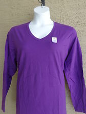 NWT Just  My Size L/S V Neck Sure Shape Cotton Jersey Tee Top Purple 2X