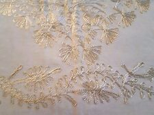 """Gold tambour lace on cream beige silky organza tablecloth 36"""" x 37"""" + 6 napkins"""