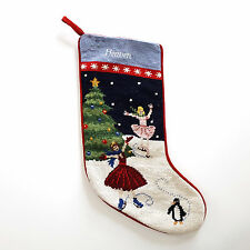 Lands End Needlepoint Christmas Stocking Monogrammed Heaven Ice Skaters