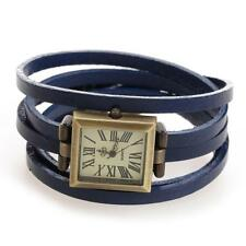 Montre Bracelet PU Cuir Bleu Mouvement à Quartz Rectangle Watch Unisexe