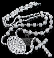 Men ICY Real Sterling Silver White Gold Finish Rosary Chain Lab Diamond Necklace
