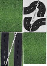 #10 SHEETS A4 20x28cm  ROADS EMBOSSED + CURVE HO 1/87 scale BLACK ASPHALT+ grass