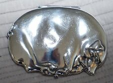 RARE SOLID STERLING SILVER 1901 SLEEPING PIG CIGARETTE CASE WITH SAPPHIRE BUTTON