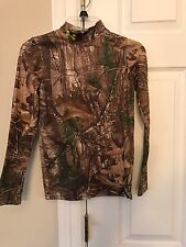UNDER ARMOUR REAL TREE COMPRESSION MOCK TURTLENECK L/S SHIRT Sz YOUTH Medium