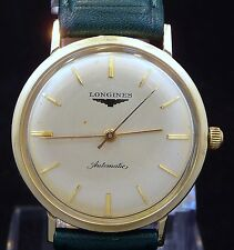 EXCELLENT ORIGINAL MEN VINTAGE 1958 LONGINES AUTOMATIC WATCH SERVICE TIME 19AS