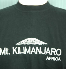 Mt Kilimanjaro Small Black Embroidered T-Shirt (Mount Africa Climb Climbing)