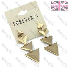 "GOLD polished metal TRIANGLE DROP EARRINGS aztec GEOMETRIC chandelier 2.5""long"