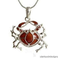 New .925 Sterling Silver Enameled Crab Pendant Necklace
