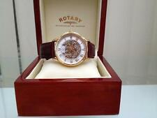 New Rotary Swiss Men's Watch 9ct Gold plated Skeleton Automatic in Wooden Box