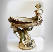 Royal Dux lge art nouveau centerpiece compote figurine  - young women FREE SHIP