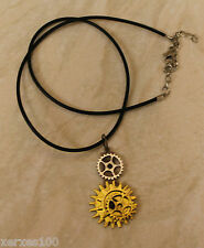STEAMPUNK Brass & gold tone cogs necklace on necklet thong HANDMADE B3