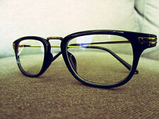 Black Vintage Geek Retro Clear Lens Fashion Eye Glasses 60s 80s