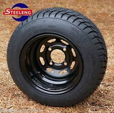 """GOLF CART 10"""" BLACK STEEL WHEELS and 205/50-10 DOT LOW PROFILE TIRES (4)"""