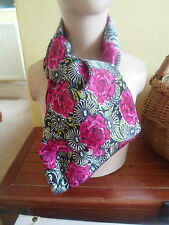 1 NEW Colourful Mixed Fibre Ladies Scarf PINK+BLACK FLORAL ~ Gift Idea #37