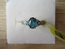 Teal Kyanite White Topaz Accent Ring Platinum Over Sterling Sz 5,6,7,8,9 Opt