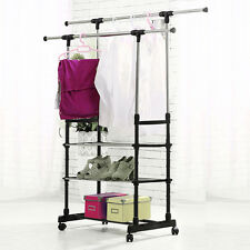 Adjustable Garment Rack Coat Clothes Rail Stand on Wheels with Shoe Rack UK