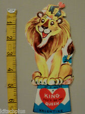 Vtg Valentine Card Circus Lion Queen King of the Jungle Animal  Crown 60s UNUSED