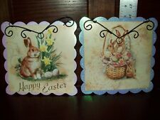 NWT SET of 2 EASTER WALL ART PICTURE DECOR HANGING BUNNY RABBIT PRINT
