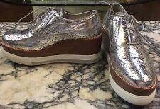 MIU MIU /PRADA wedge  Platform Silver Oxford shoe, Sz 38.5 EU