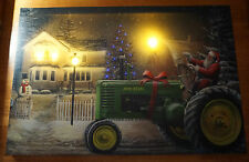 SANTA JOHN DEERE TRACTOR Lighted LED Timer Christmas Tree Farm Canvas Sign NEW