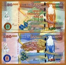 SET Zambia, 20000;50000 Kwacha 2003 Picks 47a-48a First date, Highest Denoms UNC
