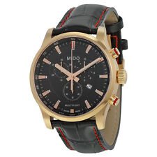 Mido Multifort Chronograph Black Dial Black Leather Mens Watch M0054173605120